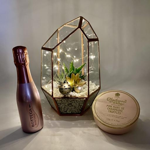 White Copper Gem Terrarium Prosecco Gift Set